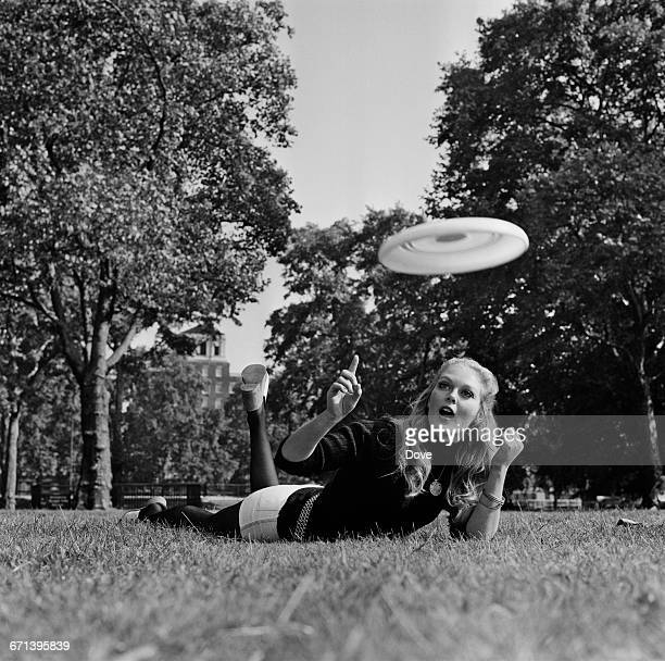 English actress Jenny Hanley practises with a frisbee or flying disc UK 1st October 1971
