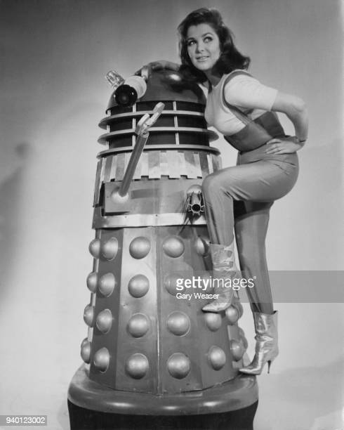 English actress Jill Curzon poses with a Dalek at Shepperton Studios UK 19th January 1966 She will star with the metal menace in the Doctor Who film...