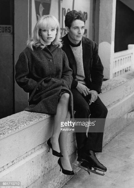 English actress Jill Haworth and French actor Jacques Charrier film a scene for Michel Deville's 'À cause à cause d'une femme' at the Molitor ice...