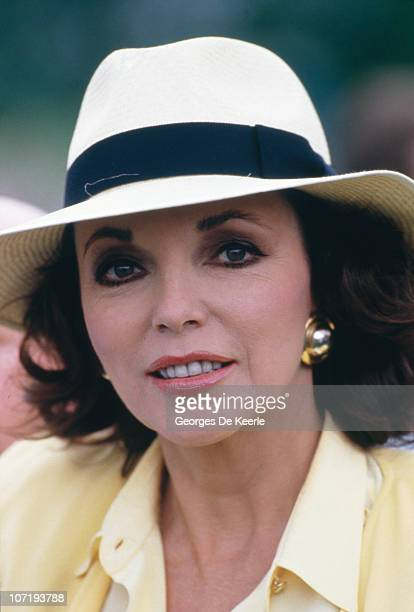 English actress Joan Collins at a golf tournament in the UK 30th May 1987