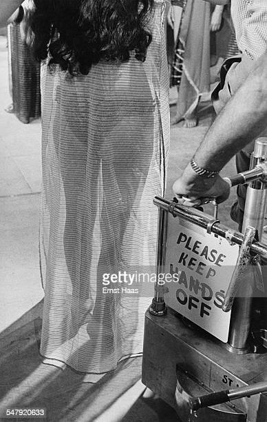 English actress Joan Collins in costume on the set of Howard Hawks' historical epic 'Land of the Pharaohs' in which she plays Princess Nellifer circa...