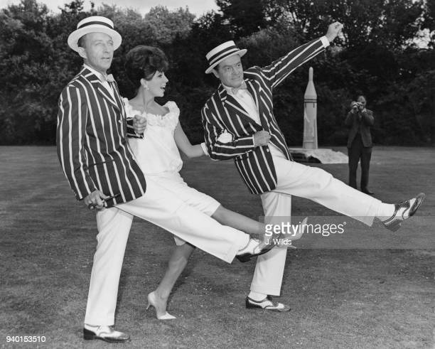 English actress Joan Collins with costars Bob Hope and Bing Crosby as they start work at Shepperton Studios on the film 'The Road To Hong Kong' 2nd...