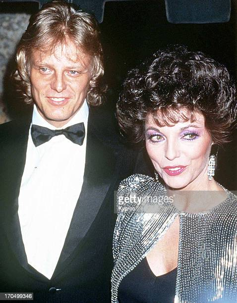 English actress Joan Collins with her husband singer Peter Holm circa 1986