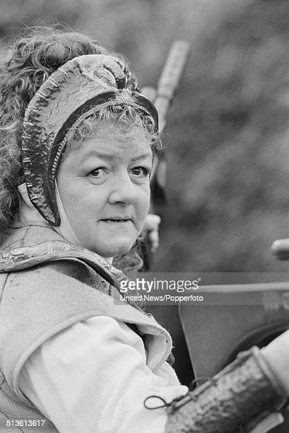 English actress Joan Sims in costume as Queen Katryca on the set of the BBC television series Doctor Who on 10th April 1986