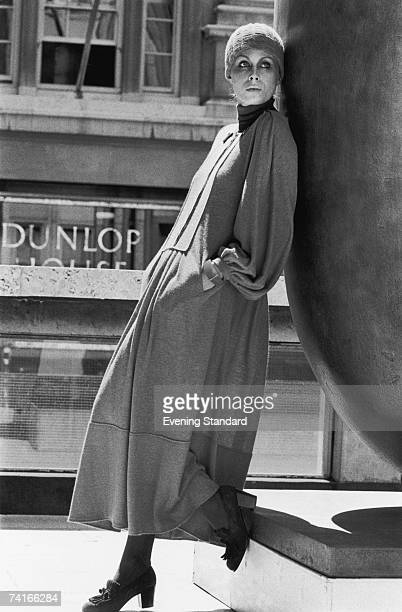 English actress Joanna Lumley models 'Smokey Red' designed by Jean Muir for the launch of a new nail varnish by Helena Rubinstein 1975