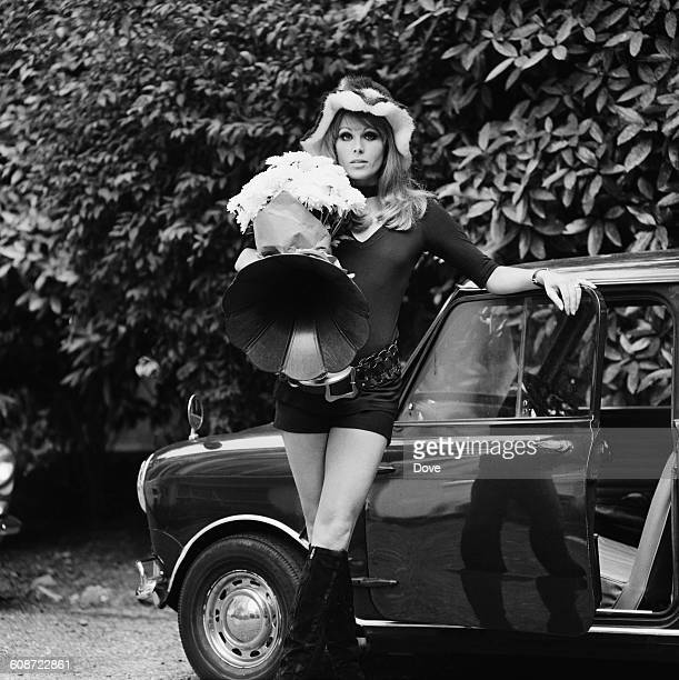 English actress Joanna Lumley with a gramophone she bought in an antique shop UK 24th September 1971