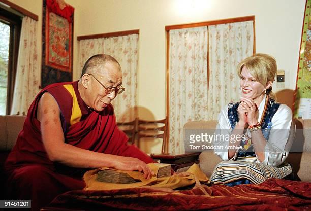 English actress Joanna Lumley with His Holiness Tenzin Gyatso, The 14th Dalai Lama, during her visit to Dharamsala, India, May 2004.