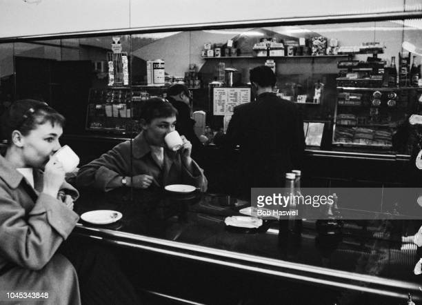English actress Judi Dench at a coffee bar in London, 11th September 1957. She is currently making her London debut as Ophelia in a production of...