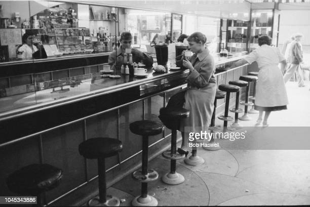 English actress Judi Dench at a coffee bar in London 11th September 1957 She is currently making her London debut as Ophelia in a production of...