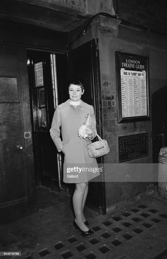 English actress Judi Dench leaving the Palace Theater after the opening night of musical 'Cabaret', in which she plays 'Sally Bowles', London, UK, 28th February 1968.