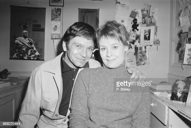 English actress Judi Dench pictured with her fiance English actor Michael Williams in London on 23rd October 1970