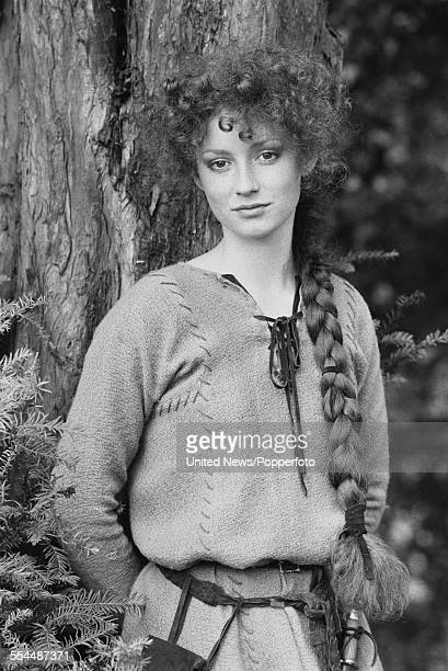 English actress Judi Trott pictured dressed in character as Lady Marion of Leaford from the television adventure series 'Robin of Sherwood' in...