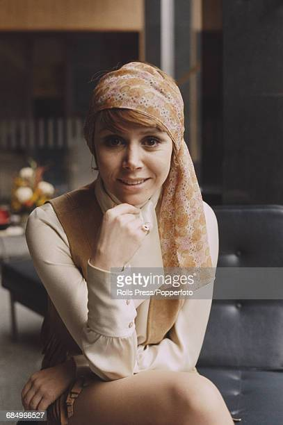 English actress Judy Carne who stars in the American television series 'Rowan Martin's LaughIn' posed wearing a headscarf in Elstree Hertfordshire on...