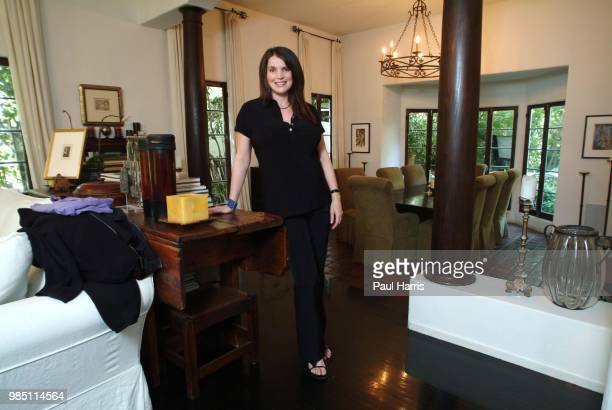 English actress Julia Ormond who was pregnant and will give birth end of June 2004 photographed April 30 2004 at her home in Brentwood California
