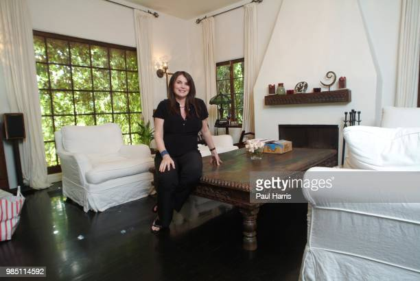 English actress Julia Ormond, who was pregnant and will give birth, end of June 2004, photographed April 30, 2004 at her home in Brentwood, California