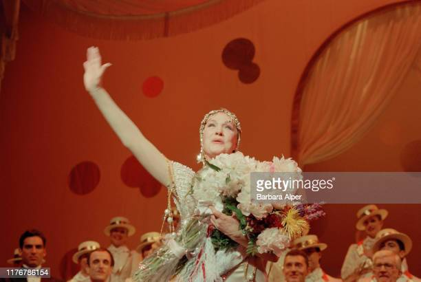 English actress Julie Andrews in her final performance as Victoria Grant in the Broadway run of the musical 'Victor/Victoria' at the Marquis Theatre...