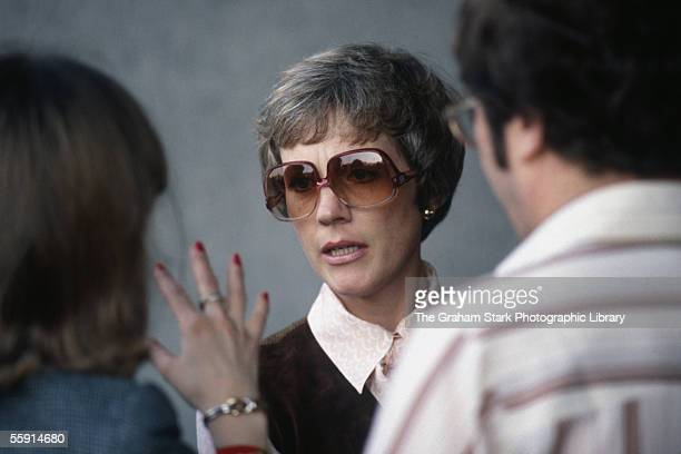 English actress Julie Andrews talking to film actress and wife of Peter Sellers Lynne Frederick circa 1978