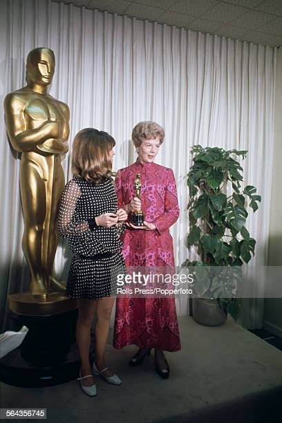 English actress Julie Christie presents the Academy Award for Best Actor to Wendy Hillier who accepts the oscar on behalf of absent actor Paul...