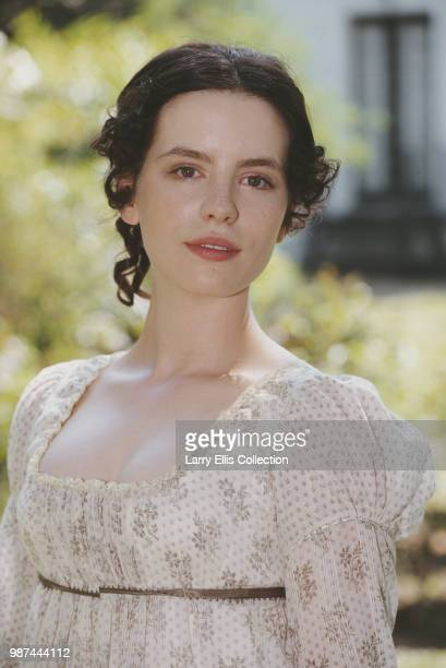 English actress Kate Beckinsale pictured wearing period costume during production of the ITV film adaptation of Jane Austen's 'Emma' circa 1996