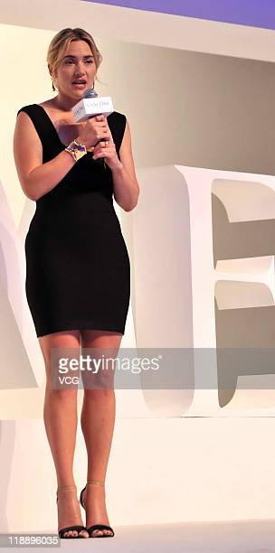 English actress Kate Winslet poses for photos during Lancome Press Conference on July 12 2011 in Beijing China