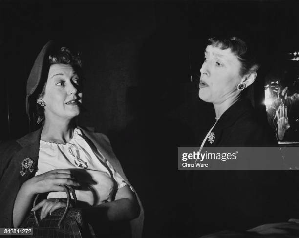 English actress Kay Hammond and comedian Joyce Grenfell discuss the differences between the sexes on the BBC programme 'We Beg To Differ' October 1948
