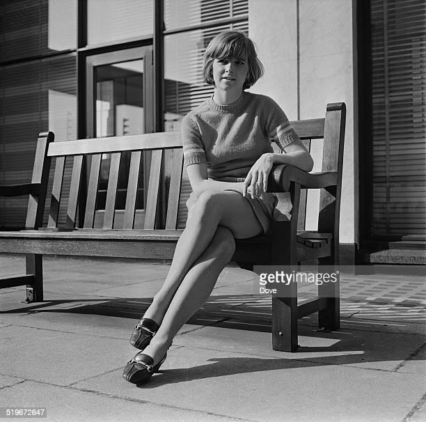 English actress Kim Braden posing on a bench 31st May 1968