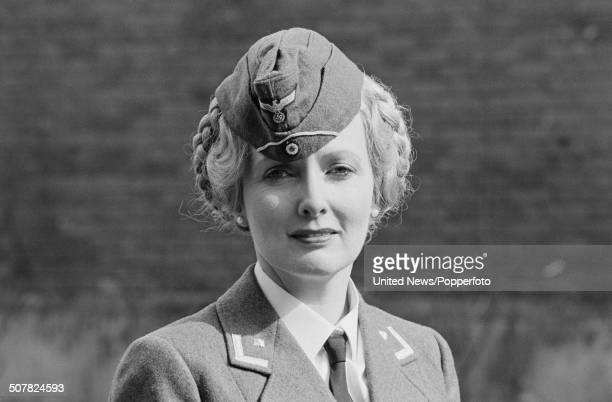 English actress Kim Hartman in character as Private Helga Geerhart from the television sitcom series 'Allo 'Allo on location in Mundford Norfolk on...