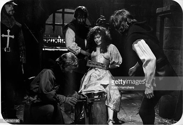 English actress Lesley-Anne Down as Esmeralda in the film 'The Hunchback of Notre Dame', aka 'Hunchback', 1982. Here she undergoes torture.