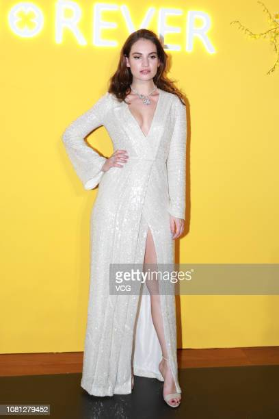 English actress Lily James poses during a press conference for Bvlgari's Fiorever jewelry collection on December 11, 2018 in Beijing, China.