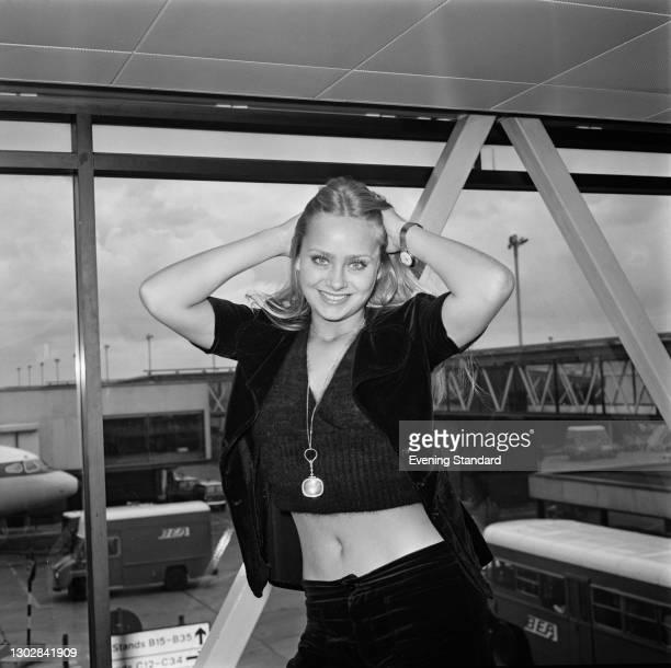 English actress Linda Hayden at Heathrow Airport in London, UK, 29th September 1972.