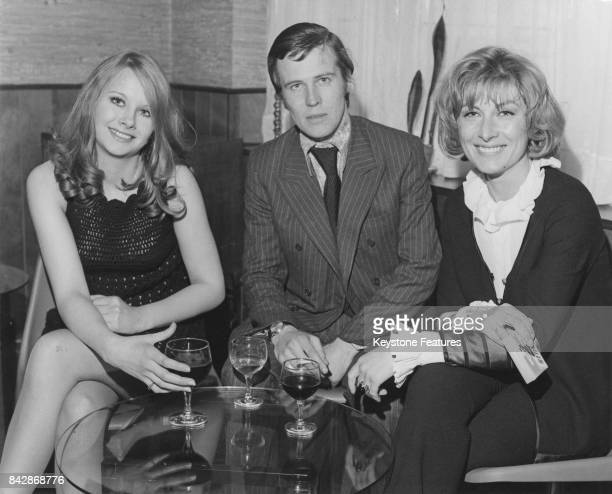 English actress Linda Hayden who is making her debut in the film 'Baby Love' with costar Ann Lynn and executive producer Michael Klinger at...