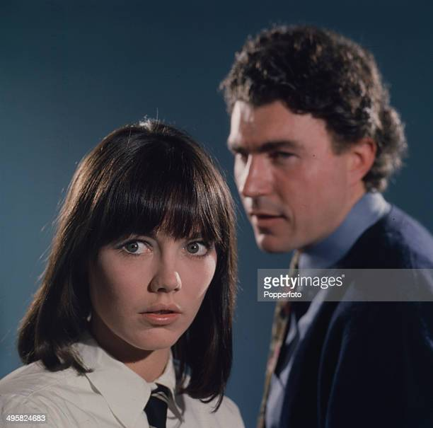 English actress Lucy Fleming pictured with actor David Burke in a scene from the television drama 'Death by Misadventure' in 1967