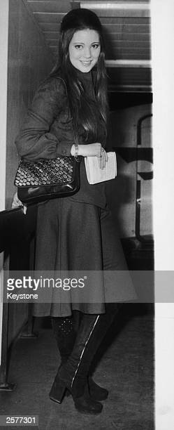 English actress Lynne Frederick at London Airport 7th February 1972 Frederick is travelling to Naples for the opening of her latest film 'Nicholas...