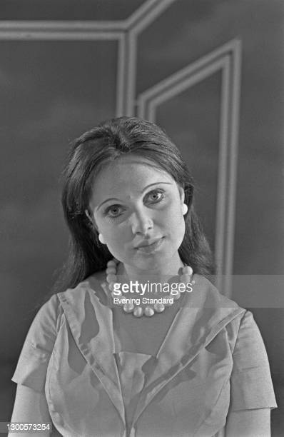 English actress Madeline Smith stars as Felicity Rumpers in the stage play 'Habeas Corpus' by Alan Bennett, at the Lyric Theatre in London, UK, 10th...