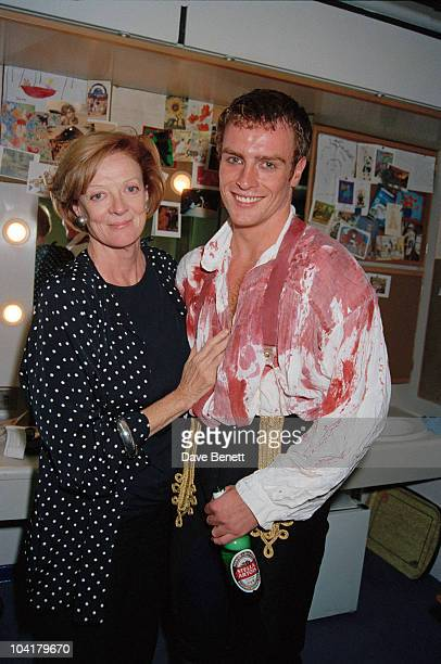 English actress Maggie Smith with her son actor Toby Stephens in a dressing room at the Barbican Theatre London 1994 Stephens is playing the title...