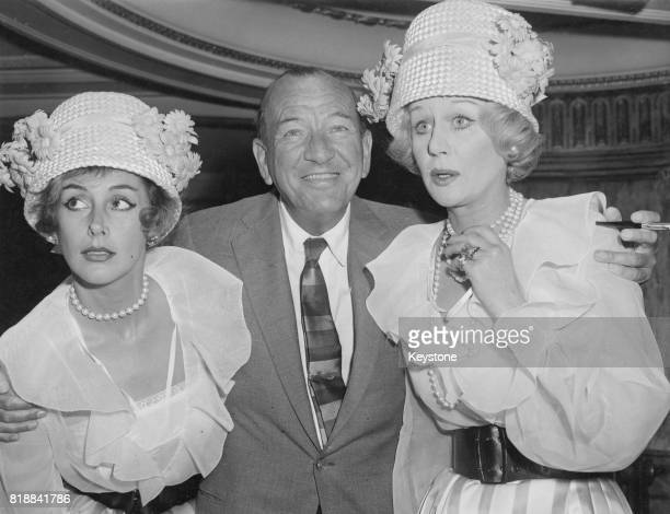 English actress Margaret Leighton with Noel Coward and Kay Kendall during rehearsals for the 1958 'Night of 100 Stars' midnight charity show in...