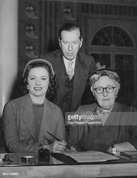 English actress Margaret Lockwood with English crime novelist short story writer and playwright Agatha Christie and English theatre impresario Peter...
