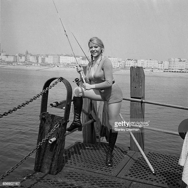 English actress Margaret Nolan on location in Brighton for the filming of 'Carry on at your Convenience' UK 4th May 1971