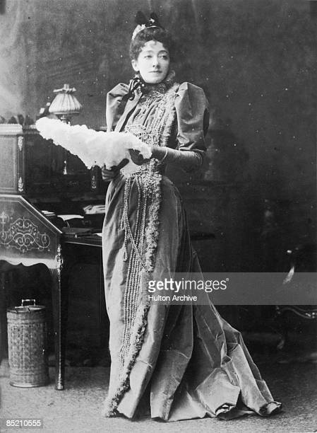English actress Marion Terry as Mrs Erlynne in a production of 'Lady Windermere's Fan' by Oscar Wilde at the St James's Theatre in London 1892