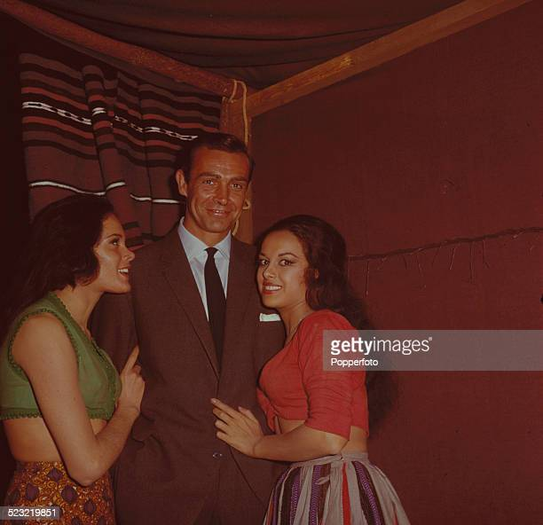 English actress Martine Beswick and Israeli actress Aliza Gur who play gypsy girls Zora and Vida in the James Bond film From Russia With Love posed...