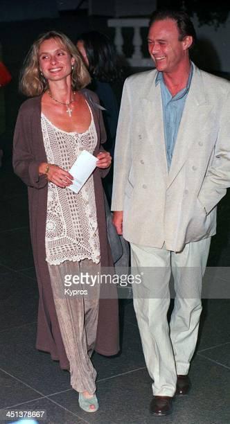 English actress Maryam d'Abo with actor Christopher Cazenove circa 1993