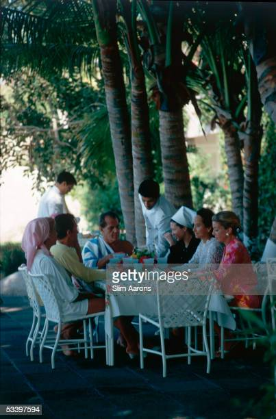 English actress Merle Oberon and lunch guests at her villa La Consentida Acapulco 1966