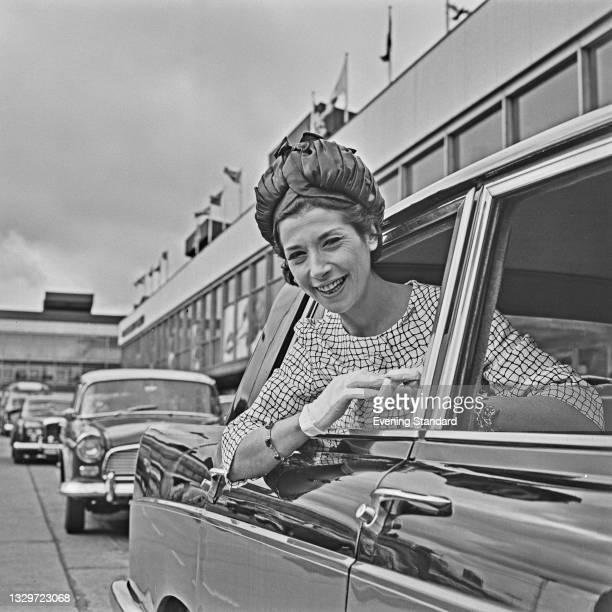 English actress Miriam Karlin at London Airport , UK, 27th May 1965.