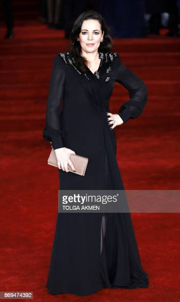 English actress Olivia Coleman poses upon arrival to attend the world premiere of the film 'Murder on the Orient Express' at the Royal Albert Hall in...