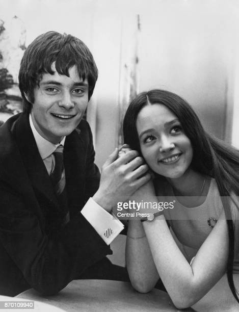 English actress Olivia Hussey with actor Leonard Whiting at a press reception to announce their roles as Shakespeare's tragic lovers Romeo and Juliet...