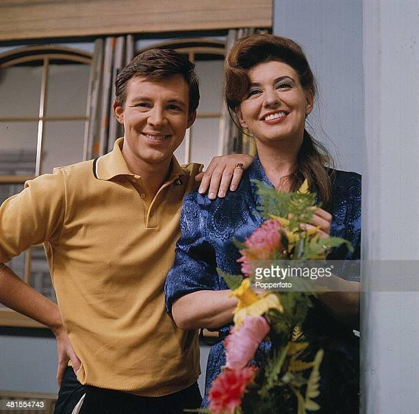 1968 English actress Pat Phoenix and actor Philip Lowrie pictured in character as Elsie Tanner and Dennis Tanner from the long running television...