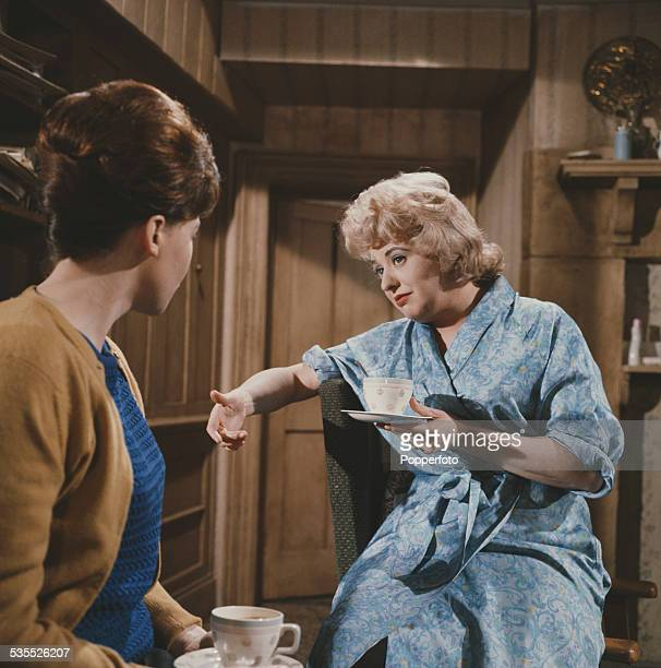 English actress Pat Phoenix pictured performing in character as Elsie Tanner in a scene from the television soap opera Coronation Street in...