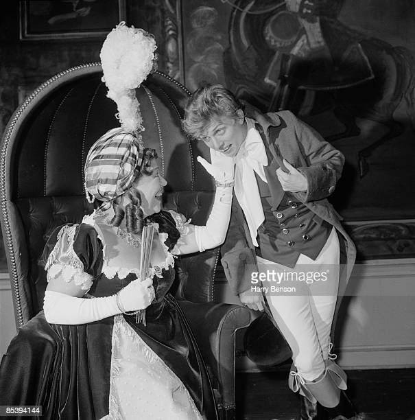 English actress Peggy Mount , as Mrs Hardcastle, and Tommy Steele as Tony Lumpkin, rehearsing a production of Oliver Goldsmith's 'She Stoops To...