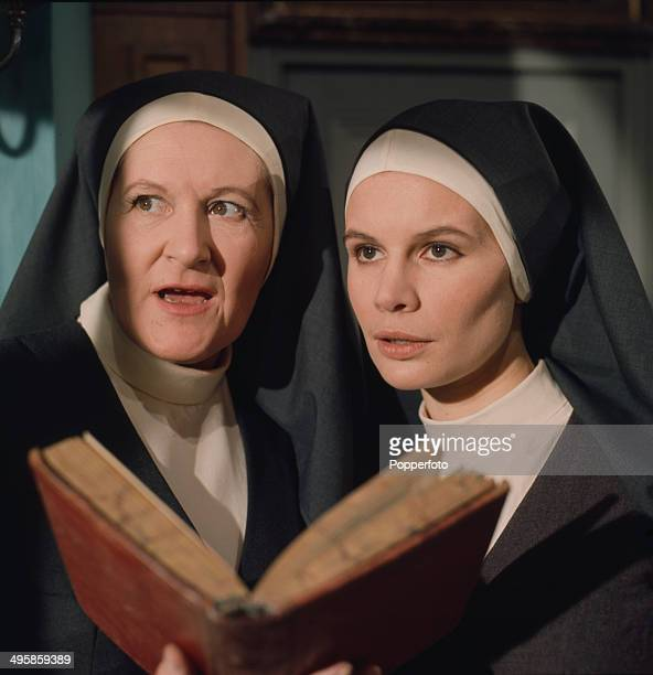 1968 English actress Peggy ThorpeBates pictured with actress Joanna Dunham in a scene from the television drama 'Sanctuary' in 1968