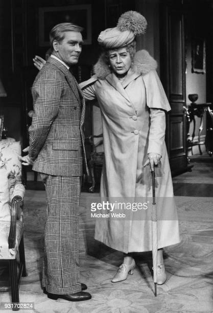 English actress Phyllis Calvert as Queen Mary and John Fraser as King Edward VIII during a photocall for the play 'Crown Matrimonial' at the...